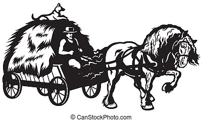 rural horse drawn cart with hay, black and white...