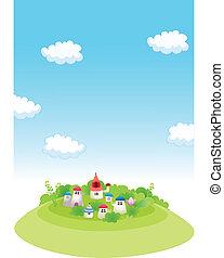 Rural houses on  green landscape