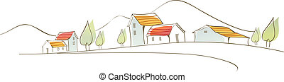Rural houses on landscape - This illustration is a common...
