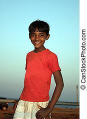 rural, indien, garçon