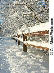 rural, inverno, paisagem.