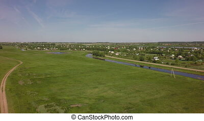 Rural land with suburban areas. West Siberian Plain. Omsk ...
