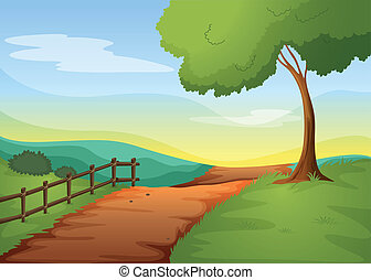Rural landcape - illustration of a landcape in a beautiful...