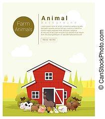 Rural landscape and farm animal background 2