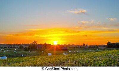 Rural landscape and sunset