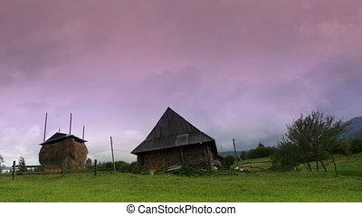 Rural landscape at sunset in Carpathians