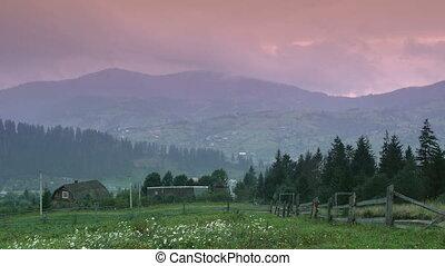 Rural landscape at sunset timelapse