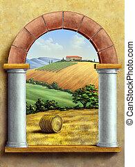 Rural Landscape - Beautiful tuscan landscape seen through a...