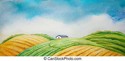 Rural landscape, cultivated field and blue sky. watercolor...