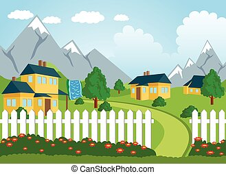 Rural landscape - Ilustration of a little town in a calm and...