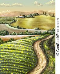Rural landscape - Farmland in Tuscany, Italy. Original...