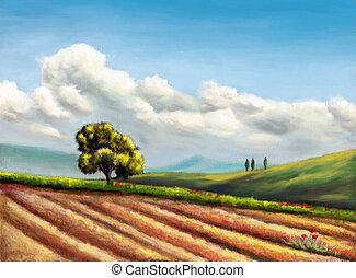 Rural landscape - Farmland in Tuscany, Italy. Original hand...