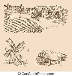 Rural landscape. Hand drawn vineyard, farm house and windmill. Vector illustration in sketch style