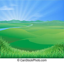 Rural landscape illustration - An idyllic rural landscape ...