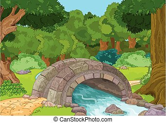 Rural Landscape - Illustration of rural landscape with stone...