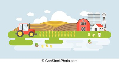 Rural landscape illustration with farm building, barn, wheat, tractor, lake, mallard. Agricultural business and organic products concept