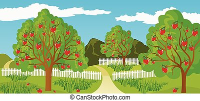 Rural landscape - Ilustration of a rural landscape in a calm...