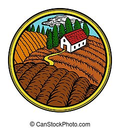 Rural landscape in circle vector illustration
