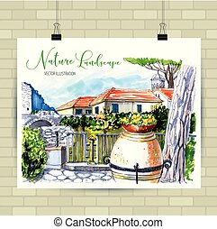 Rural landscape in Italy with country house and vase with flowers.