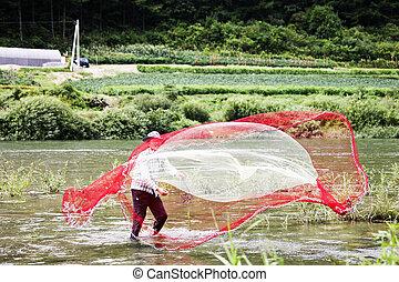 rural landscape in South Korea,Casting net