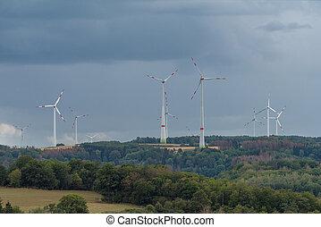 rural landscape in the Hunsruck with wind generators, ...