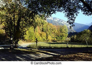 Rural landscape in Thones, Savoy, France