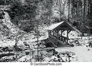 Rural landscape in winter. Bridge over river. Monochrome image.