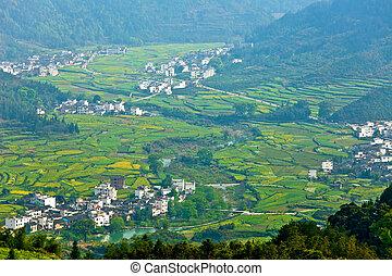 Rural landscape in Wuyuan, Jiangxi Province, China.