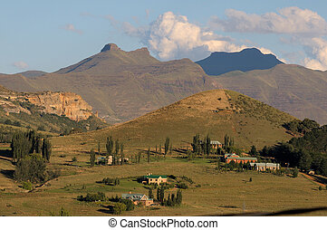 Rural landscape near Clarens, South Africa - Late afternoon ...