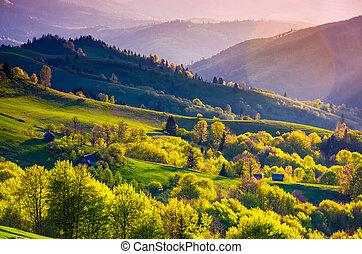 rural landscape of Carpathians in springtime. Spectacular...