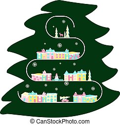 Rural landscape on christmas tree