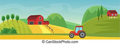 Rural landscape panorama with farm cartoon flat vector illustration concept. Panoramic Countryside fields, trees, high hills, red houses. Tractor on dirt road outroad in foreground