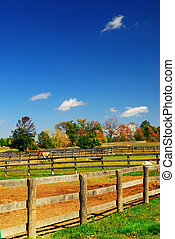 Rural landscape - Rural farm landscape in early fall in...