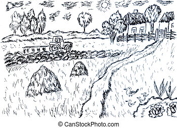 Simple black and white sketch of countryside landscape.