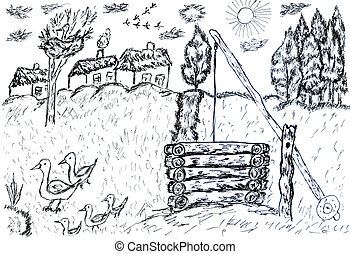 Rural Landscape Sketch - Simple black and white sketch of...