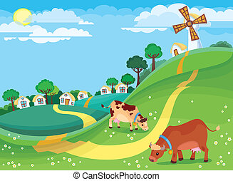 Rural landscape - The illustration of country landscape with...