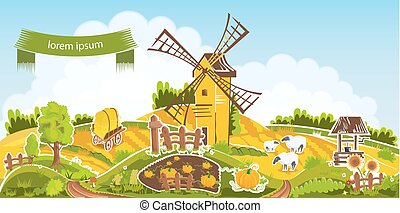 Rural landscape vector illustration