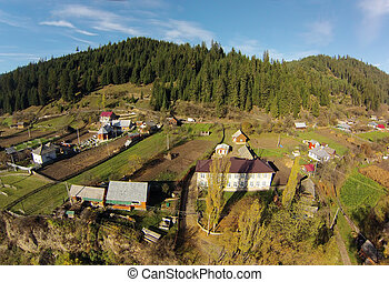 rural landscape view from the drone in Romania