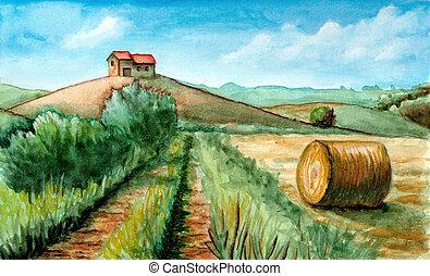 Rural landscape watercolor