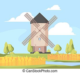 Rural landscape windmill. Farm background with growing wheat field and working windmill vector cartoon illustration