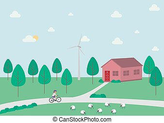Rural landscape with a house, trees, cyclist and sheep in the countryside with forest and windmill.
