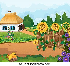 Rural landscape with a small house with a thatched roof....