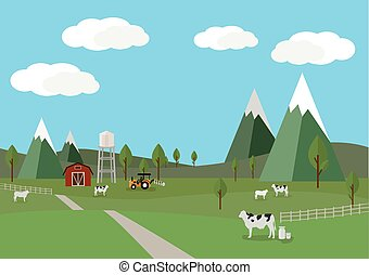 Rural landscape with cows and farm background of flat style