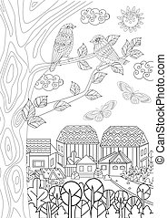 rural landscape with cute birds on tree for your coloring book