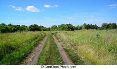 Rural landscape with dirt road in Russia - rural landscape...