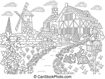 Rural landscape. Farm house, windmill, water well, mail box, bunnies, woodpecker bird, grape vines. Freehand sketch drawing for adult coloring book page with doodle and zentangle elements.