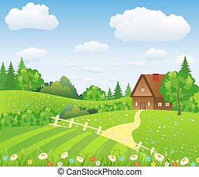 Rural landscape with fields and hills. vector illustration