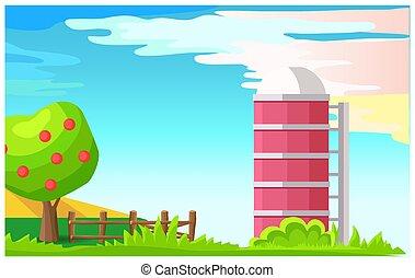 Rural Landscape with Granary Cartoon Vector