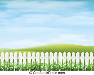 Rural landscape with  grass and fence