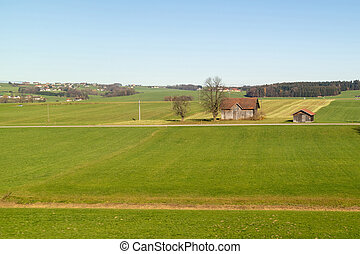 Rural landscape with green fields in autumn time, Austia.